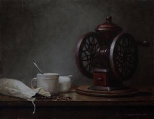"""Still Life with Coffee: Proverbs 16:21"", 16x20, oil on linen"