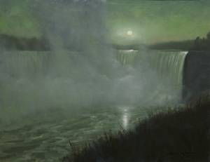 """Niagara Moonshadows, Psalms 36:9"" 11x14 Oil"