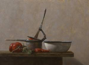"""Tomatoes & Bowl, Proverbs 15:17"" 9x12 oil"