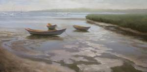 """Three Dories - Nantucket Harbor, 1 Timothy 6:6 "" 8x16 oil on linen"