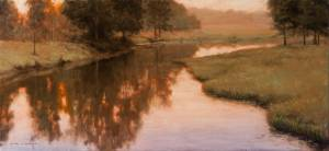 """Evening Glow - Proverbs 11:2"", 15x33, oil on linen"