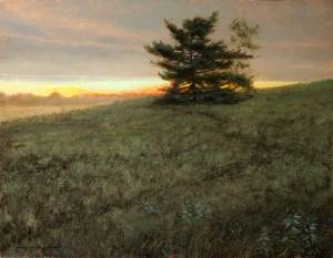 """White Pine at Sunset - Proverbs 16:21"" 16x20, Oil on Linen"
