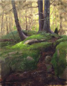 """Hemlock Forest, Proverbs 4:1"" 9x12 oil on linen"