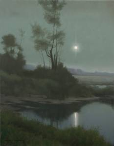 """Moon Pillar: Psalms 19:1-6"" 24x18 oil on linen"