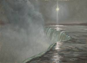 """Moonpillar Over Niagara, Psalms 78:14"" 9x12 Oil"