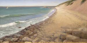 """Great Rock Coast, Psalms 77:19"" 12x24 oil on linen"