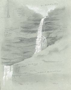 """Kaaterskille Falls"", 9x12 pencil and gauche on toned paper"