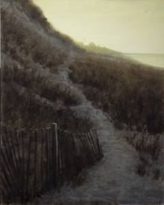 """Steps Beach at Dusk, James 1:4"" 16x20 oil on linen"