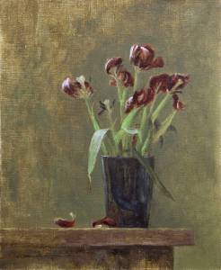 """Withered Tulips, Proverbs 6:3"" 8x10 oil"
