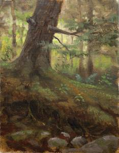 """Hemlock Forest, Proverbs 27:18"" 6x8 oil on linen"