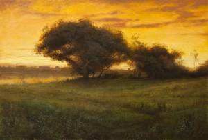 """Twilight over Cranberry Bogs, Proverbs 1:33"" 18x24 oil on linen"