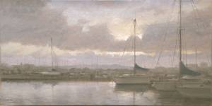"""Dawn in Harbor, Proverbs 20:27"" 8x16 oil on linen"