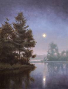 """Summer Moon, Psalms 36:7"" 24x18 Oil"