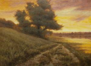 """Twilight Glow over Cranberry Bogs, Proverbs 3:5""  30x40 oil on linen"