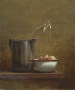 """Pitcher, Bowl, Bread, Proverbs 22:4"" 8x10 oil"