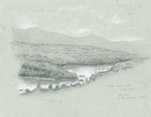 """North & South Lake - Catskills"", 9x12 pencil on toned paper"