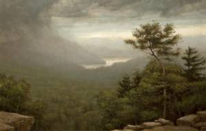 """Thunderstorm in Catskills, Psalm 9:9-10"" 23x36 oil on linen"