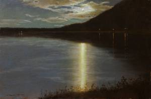 """Moonrise Over Lake, Hunter, NY"" 12x18, Oil on Linen"