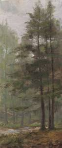 """Hemlocks, proverbs 1:4"" 5x12 oil on linen"
