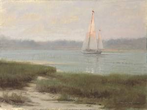"""Evening Sail, Psalms 97:11"" 9x12 Oil"